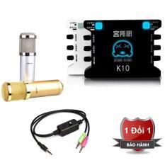 Combo karaoke online XOX K10, BM900 (vàng), Bông lọc, cáp livestream, cáp 3.5 cho điện thoại