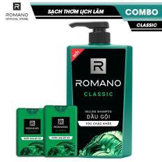 Combo sạch thơm lịch lãm Romano Classic: Dầu gội cao cấp 650gr + 2 Nước hoa bỏ túi 18ml