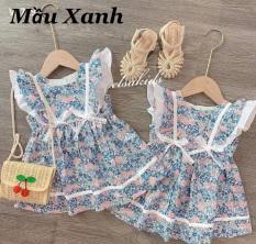 Váy bé gái mùa hè nơ xanh nơ vàng cánh tiên XHN321