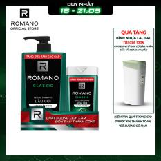 Dầu gội Romano 650g + Sữa tắm sạch khuẩn 150g