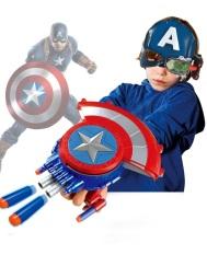 (Có Sẵn) Khiên Captain America Có Thể Xếp Lại Bung Ra Và Có Thể Bắn Xốp Mềm Rất Thú Vị Cho Các Bé