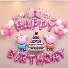 Bộ Trang Trí Sinh Nhật Heo Peppa (kèm bơm tay), bộ trang trí sinh nhật cho bé, bộ trang trí sinh nhật