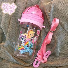 Bình nước có ống hút và dây đeo hình công chúa Frozen, Mèo Kitty, Pony, màu hồng cho học sinh bé gái – 350ml – (6.5×6.5x16cm)