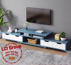 ( Giảm thêm 5% ) Kệ tivi A1960 190cm, gỗ MDF phủ melamin chống nước (màu xanh)