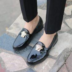 Giày lười giày nam da bóng kiểu dáng hàn quốc đai vs vàng
