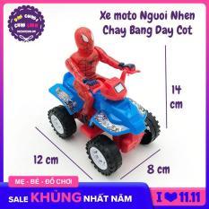 Đồ chơi xe mô tô người nhện 4 bánh chạy bằng dây cót 998-05