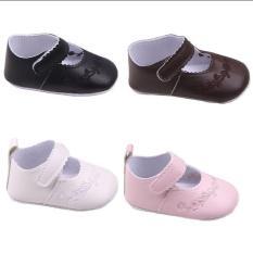 (CHỌN MÀU) Giày da PU thêu hoa đế mềm chống trượt bé gái (Mẫu 3 giày da) giầy tập đi, giày tập đi đế mềm, giày đế mềm, giầy bít, giày vải, dép, sandal