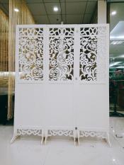 Bộ 3 tấm vách hoa cúc nửa kín (180x150cm), màu trắng thanh lịch + Tặng kèm chân vách – HOME DECOR