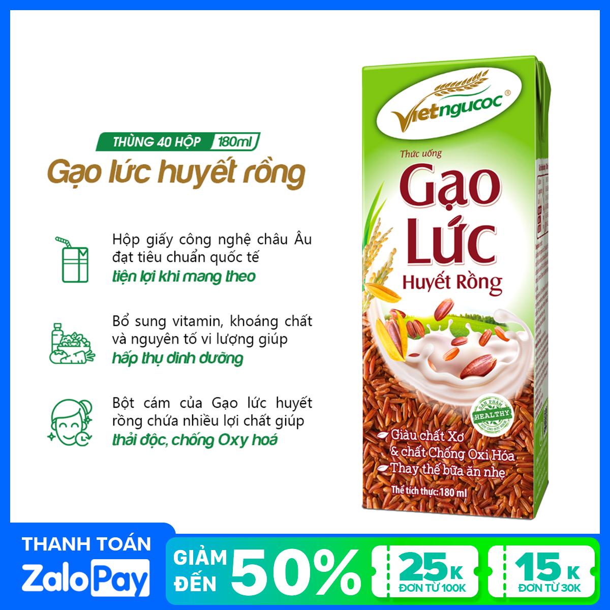 Thùng 40 hộp Thức uống Gạo lức huyết rồng Việt Ngũ Cốc – 180ml/hộp