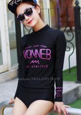 Áo Tắm Tay Dài Kiểu Hàn Hoa Lan HLAT061 (Đen)