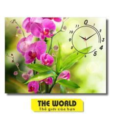Tranh đồng hồ treo tường hoa lá TW1042