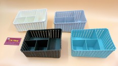 Khay nhựa nhiều ngăn để bàn dáng chữ nhật Hồ Long [được chọn màu] .Kích thước 19x13x10
