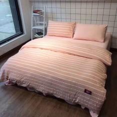 Bộ chăn ga gối Cotton ĐŨI KẺ CAM NHẠT, set 4 món gồm vỏ chăn, ga trải giường, đôi vỏ gối nằm – EmmiBedding Store