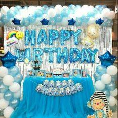 Combo Trang Trí Sinh Nhật 2 Rèm Kim Tuyến, Bóng Chữ Happy Birthday và 50 bóng tròn (Tặng bơm+Keo dán)