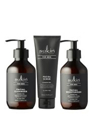 Bộ Chăm Sóc Da Mặt Dành Cho Nam Sukin For Men Facial (Men Cleanser 225ml + Men Scrub 225ml + Men Moisturiser 225ml)