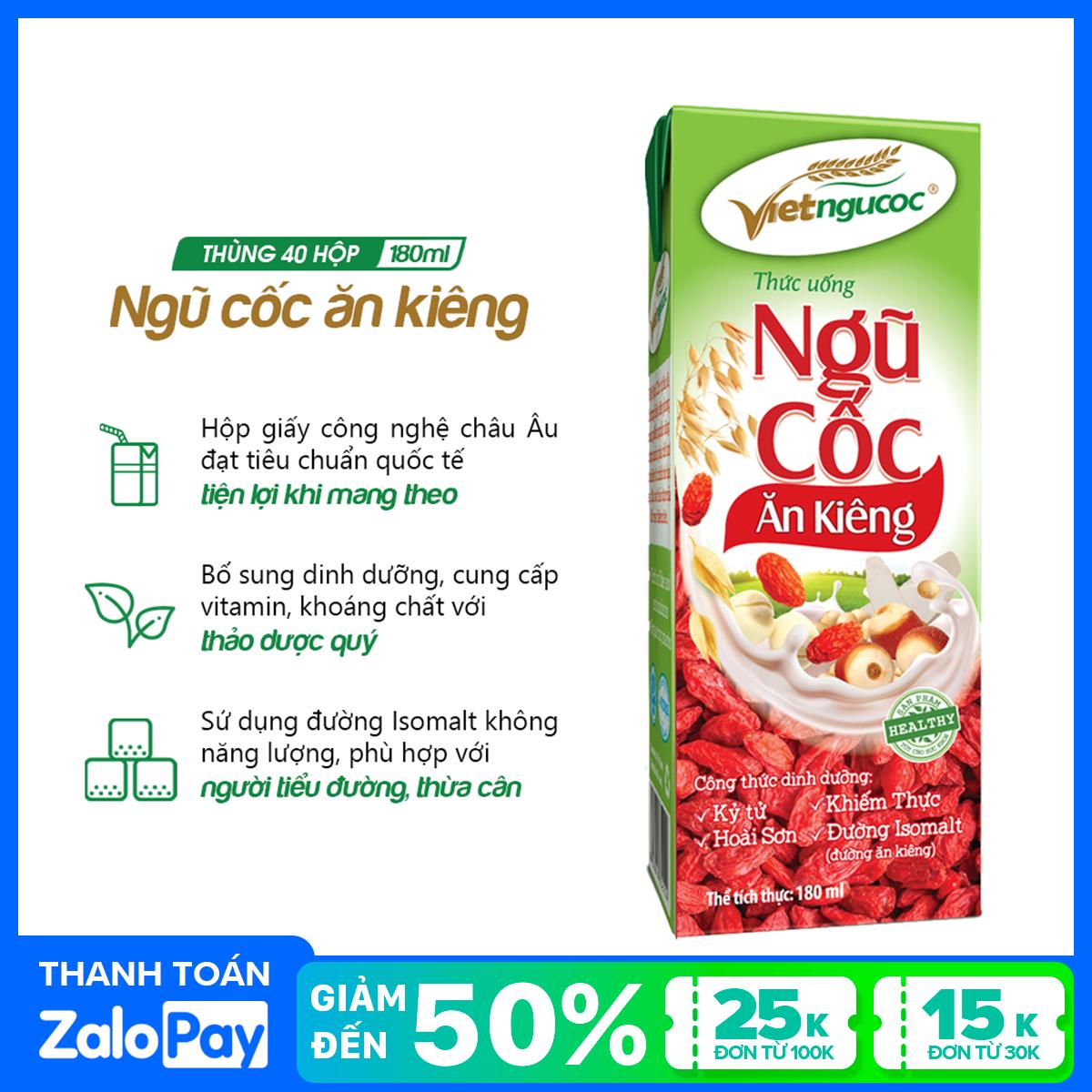Thùng 40 hộp Thức uống Ăn kiêng uống liền Việt Ngũ Cốc – 180ml/hộp