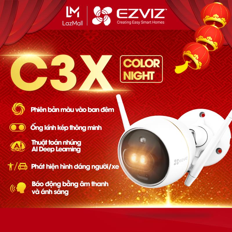 [Tặng Voucher 50K-100K-200K] Camera wifi EZVIZ C3X ống kính kép với công nghệ AI tích hợp, ghi hình màu vào ban đêm
