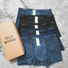 Hộp 4 quần lót nam Boxer Muji thun lạnh, quần sịp đùi nam lưới thông hơi
