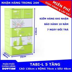 Tủ nhựa Duy Tân TABI-L 5 tầng (Lá bình hoa) – chất liệu nhựa PP/ABS, kiểu dáng hiện đại, thiết kế tiện lợi, kích thước 70 x 48 x 130cm