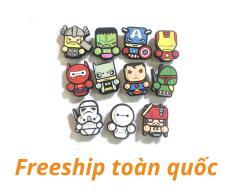Combo 11 cái Sticker / Jibbitz Nút Gắn Dép Siêu anh hùng, Marvel cho Crocs, Cross, Satihu, Dép Sục