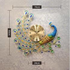 Đồng hồ trang trí chim công đậu cành mai WM122 (treo ngang)