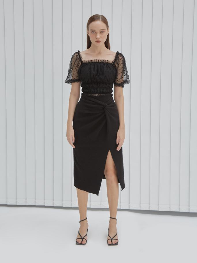 COCO SIN – Váy Midi Đen Twist Eo