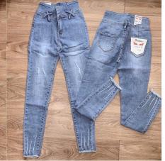 Quần jean nữ KIỂU X CHÉO ĐAI TRƯỚC – hai cúc – lưng siêu cao size 26 – 30 JOL10