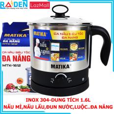 Ca Nấu Đa Năng 1.6L Inox 304 MATIKA MTK-1612 Công Suất 600W – Nồi lẩu mini đa năngấm đun nước nồi lẩu điện ca nấu mìnấu nướcnấu lẩu luộc trứng nấu canh kho cáđa chức năng-BH 12 Tháng