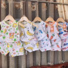 combo 5 bộ ba lỗ vải cotton giấy cho bé 4-14kg
