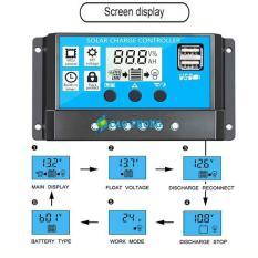 Điều khiển sạc năng lượng mặt trời 30A 12V/24V LCD – USB 3024
