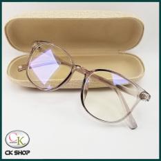Gọng kính cận tròn nam nữ nhựa đẻo màu đen, nâu hồng, xám khói 2036. Tròng/mắt kính giả cận 0 độ chống ánh sáng xanh, chống tia UV