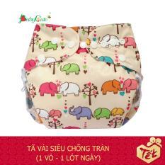 Bộ tã vải BabyCute ban Ngày Siêu chống tràn size L (14-24 kg) (1 Vỏ + 1 Lót) mẫu bé Gái