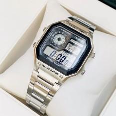 Đồng Hồ Nam Casio AE-1200 Worldtime, Kiểu Dáng Classic Chống Nước, Dây Thép Không Gỉ, Bảo Hành 12 Tháng