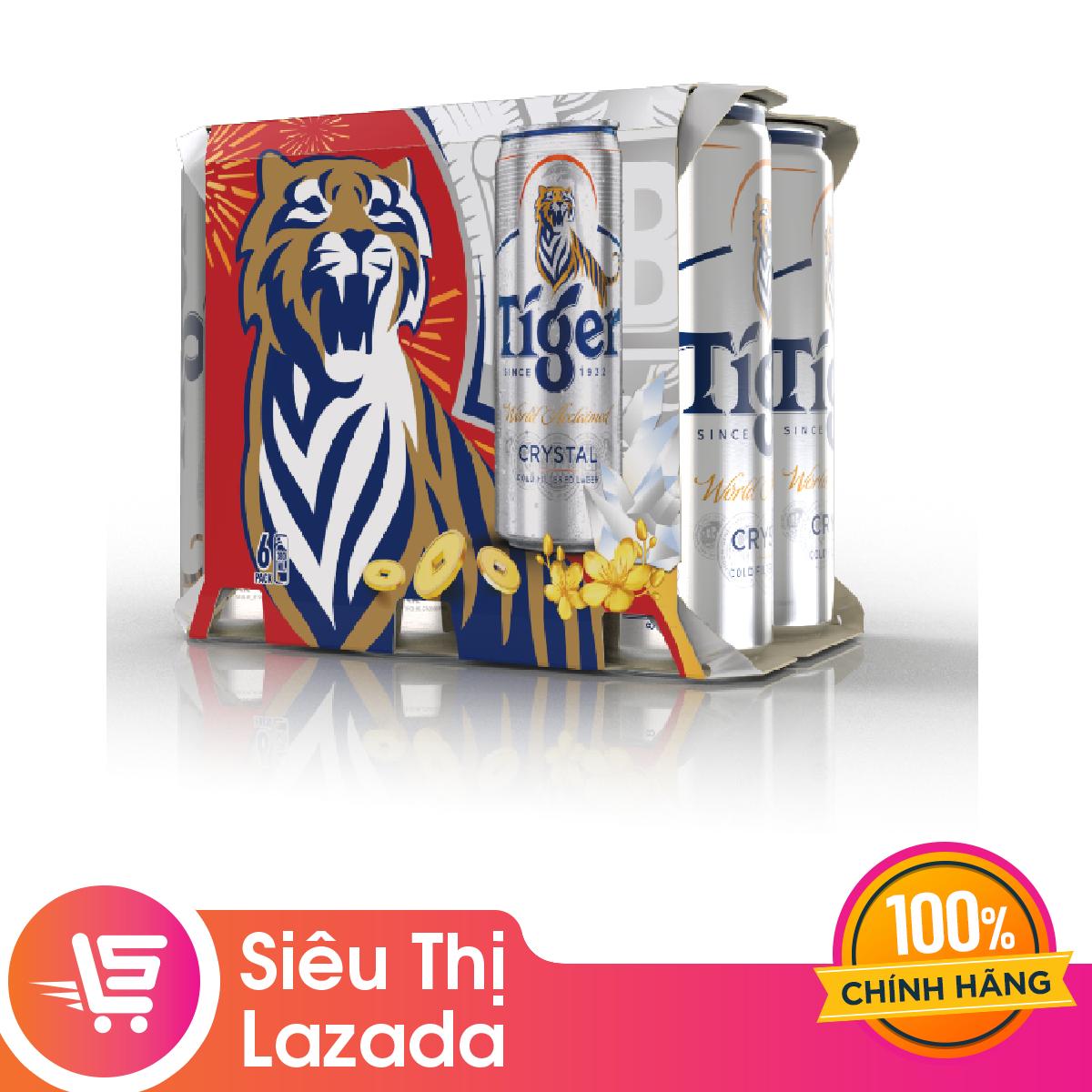 Lốc 6 lon Tiger Crystal lon cao mới (330ml/lon) Bao bì Tết