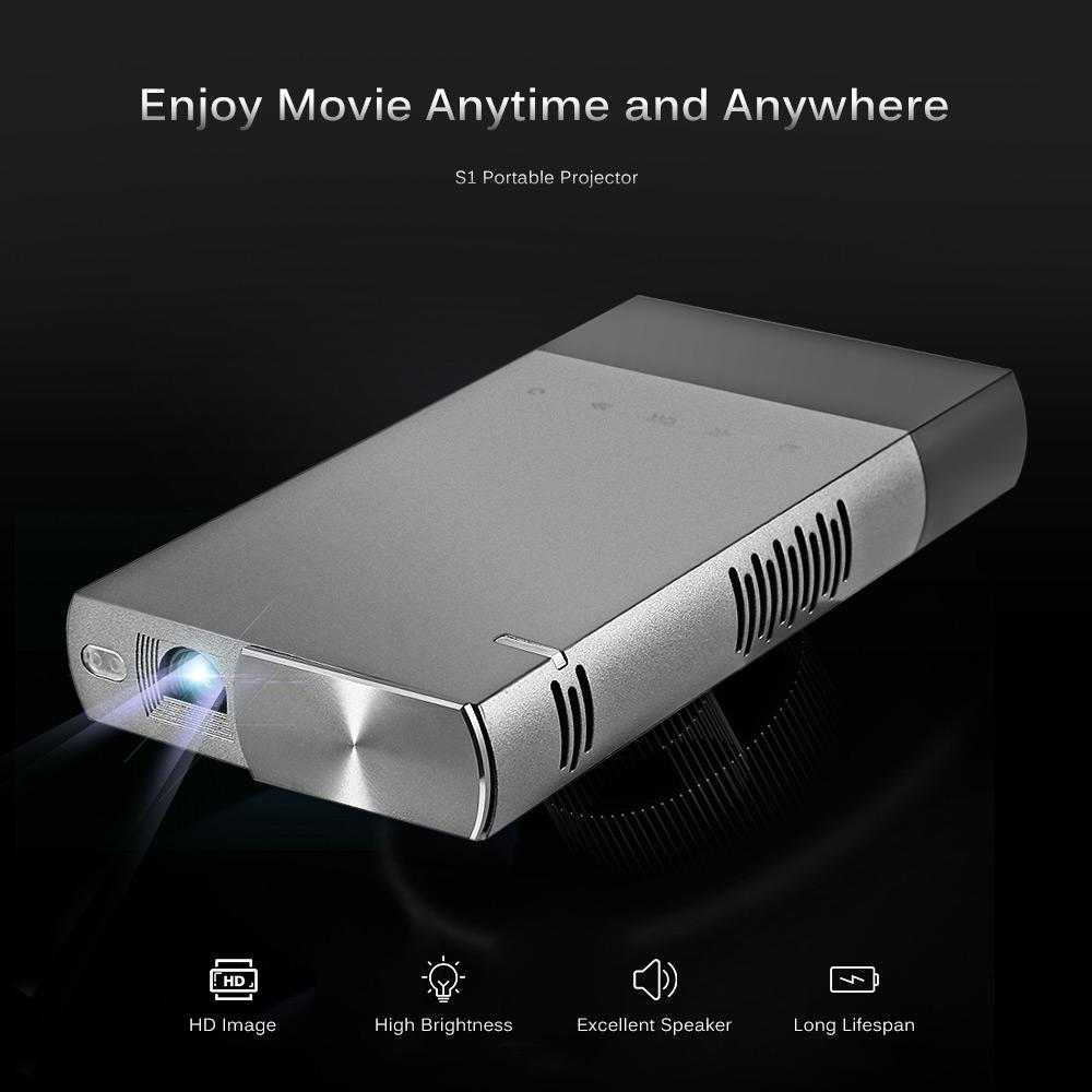 Máy chiếu Excelvan DLP S1 Portable DLP Mini Projector 854*480P 1080P with 5200mAh Builtin Battery For 1080P Home Theater With...