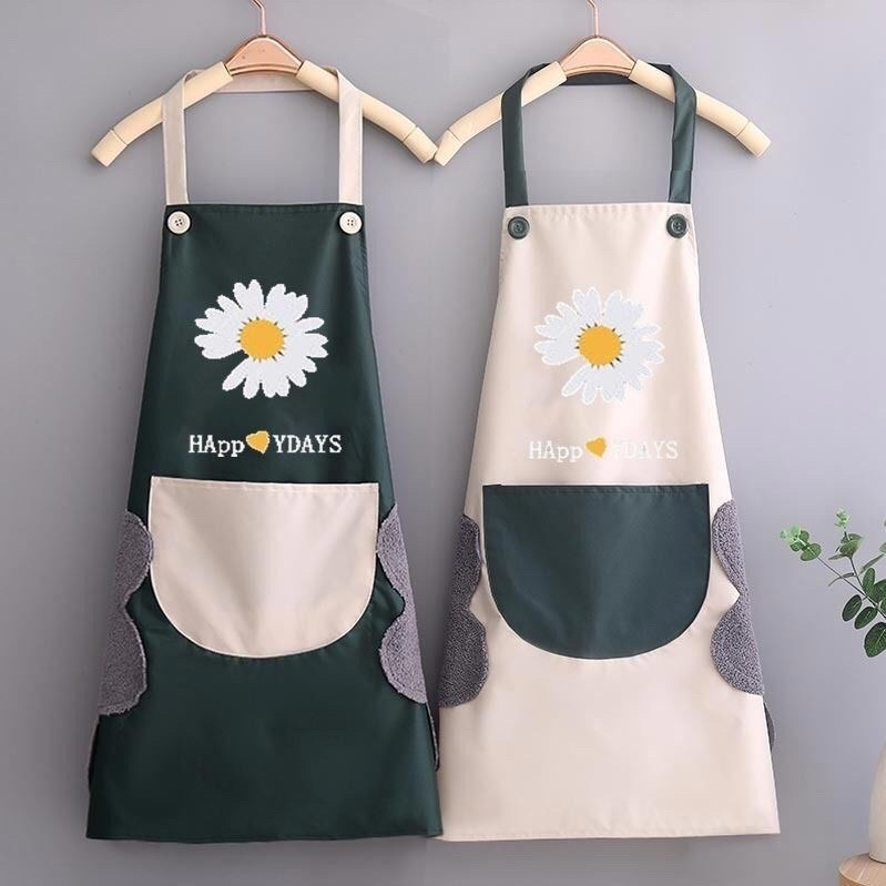 Tạp dề hoa cúc có túi đựng và lau tay, làm bếp, pha chế, phục vụ, làm nail, bán cafe...