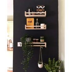 Kệ gỗ pallet trang trí nhà cửa, kệ để gia vị phòng bếp, giá sách treo tường kích thước 60x15x10