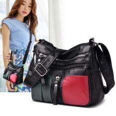 [Bán chạy] Túi xách nữ thời trang đỏ đen da mềm nhiều ngăn đựng đồ tiện lợi