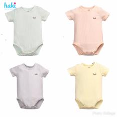 Body chip cộc tay cài vai vải sồi cao cấp HAKI (4-12kg); body cho bé trai bé gái, body suit cho bé sơ sinh BM008