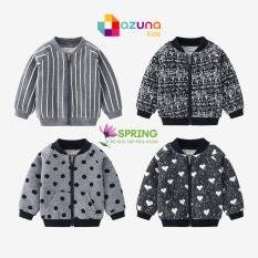 Áo khoác bomber AZUNA WELLKIDS áo khoác nỉ bé trai họa tiết đáng yêu hàng xuất khẩu