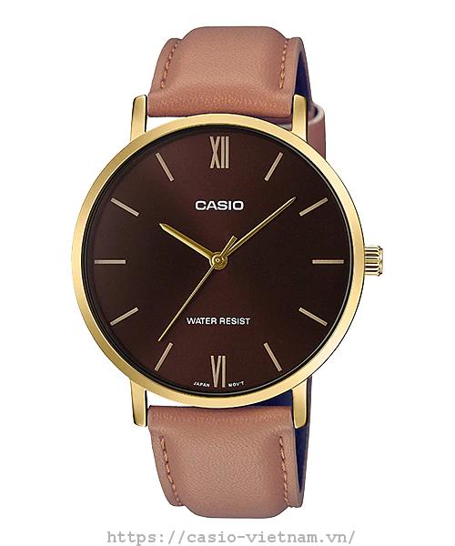 Đồng hồ nam Casio MTP-VT01GL-5BUDF Dây da mặt nâu cá tính mẫu mới