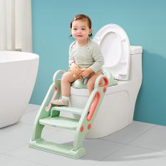 Thang bô vệ sinh KUB, nắp thu nhỏ bồn cầu cho bé, bệ ngồi toilet cho trẻ em có tay vịn, khung đệm lớn dễ dàng gấp gọn