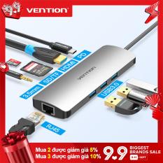 Bộ Chuyển Đổi Các Cổng Cắm Vention từ Type C Hub USB C sang HDMI USB 3.0 HUB Thunderbolt 3 TF/SD 3.5mm RJ45 PD Dành cho Máy tính xách tay MacBook Samsung S10/9 Huawei Mate 30 P30 Pro