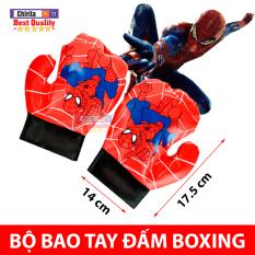 Bộ 2 Bao Tay Đấm Bốc Người Nhện Siêu Anh Hùng – Găng Tay Đấm Boxing Bằng Da Mềm Cho Bé