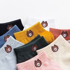 Set ( 5-10 ) Tất Gấu Hot Trend Nhiều Màu Vải Cotton Có Kèm Túi