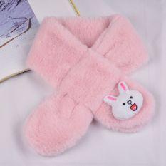 Khăn quàng cổ, khăn choàng cổ lông thỏ gắn họa tiết hoạt dễ thương cho bé trai bé gái từ 1 đến 12 tuổi