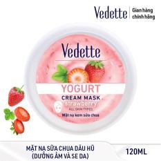 Mặt nạ kem sữa chua dưỡng ẩm mịn màng Dâu Vedette Yogurt Cream Mask – Strawberry 120ml (dạng hũ)