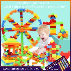 Bộ đồ chơi xếp hình 100 chi tiết, đồ chơi trẻ em phát triển trí tuệ