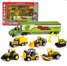 Bộ 6 xe công trình đồ chơi trẻ em bằng kim loại và nhựa mô hình tỉ lệ 1:64
