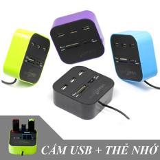 Bộ chia USB HUB kiêm đầu đọc thẻ nhớ 2 in 1 cổng 2.0 giá rẻ mẫu 3 giao màu ngẫu nhiên